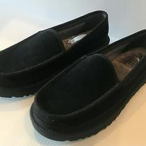 Ugg Men's Suede Slip on Loafer Moccasin Slippers Black Suede Leather Photo