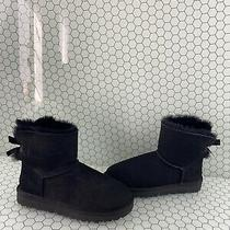 Ugg Mini Bailey Bow Ii Black Suede Fur Lined Pull on Ankle Boots Womens Size 9 Photo