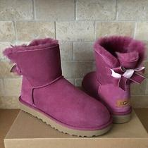 Ugg Mini Bailey Bow Ii Shimmer Bougainvillea Suede Boots Size Us 10 Womens Photo