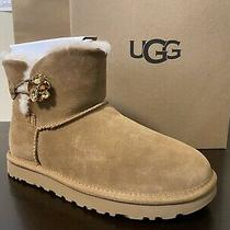 Ugg Mini Bailey Button Gem Women's Boots Size Us 7 Winter Suede Crystal New Photo