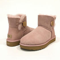 Ugg Mini Bailey Button Ii Boots Pink Crystal Sheepskin -Us Size 9 -New Photo