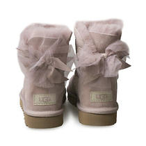 Ugg Mini Bailey Tulle Bow Dusk Suede Sheepskin Ankle Women's Boots Size Us 6 New Photo