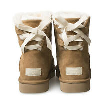 Ugg Mini Continuity Bow Chestnut Suede Sheepskin Ankle Boots Size Us 11/uk 9 New Photo