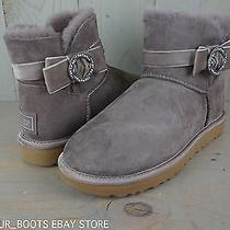 Ugg Mini Karlie Brooch Stormy Gray Crystal Bling  Womens Boots Us 11 Nib Photo