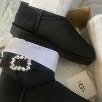 Ugg Mini Side Brooch Black Suede Sheepskin Crystal Women's Boots Size Us 8 New Photo