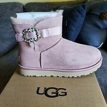 Ugg Mini Side Brooch Pink Suede Sheepskin Crystal Women's Boots Size Us8 New Photo