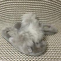 Ugg Mirabelle Willow Grey Gray Sheepskin Fluffy Bow Slide Slippers Size 7 Womens Photo