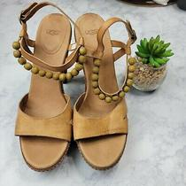 Ugg Naima Sandals Wood High Heel Leather Platforms Sz 10 Bown Chunky Photo