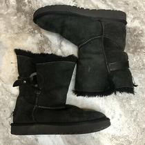 Ugg Nash Genuine Shearling Boots Size 5 Black Short Winter O Ring Photo