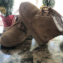 Ugg Neumel Chukka Chestnut Lace Up Ankle Suede Sheepskin Kids Boots Size 11 Photo
