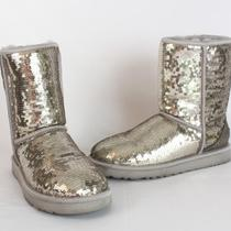 Ugg Nib Classic Short Sparkles Silver Sequin Boots 7 Photo