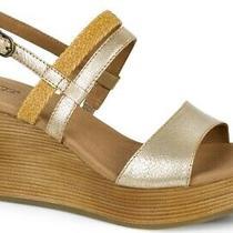 Ugg Nwot Lira Brushed Gold & Tan Soft Leather Wedge Sandal 125 Sz 8.5 Photo