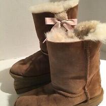 Ugg Pala Boot Girls Sz 4 Tan W Pink Ribbon Suede Shearling Lined 8.5 Tall Photo