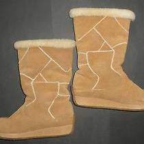 Ugg Patchwork Stitched Tan Brown Suede Boots 5414 Gum Sole Size 9  Sheepskin  Photo