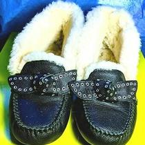 Ugg Poler Black Leather Shearling Moccasin Slippers Us 8 / Eu 39 / Uk 6.5  Photo