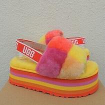Ugg Pride Disco Checker Rainbow Yellow Fluff Slide Sandals Us 7/ Eur 38 Nib Photo