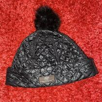 Ugg Quitted Black Hat With Fur Pom Great Condition O/s Fit Most. Photo