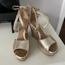 Ugg Reagan Metallic Gold Wedge Sandal Strappy 160 Retail Size 5.5 Photo