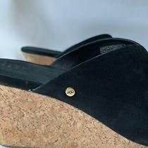Ugg S/n 1005105 Womens Black Suede Leather Wedges Cork Heel Size 9.5 Photo