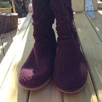 Ugg's Sweater Wine Burgundy Boots Size 6 Photo