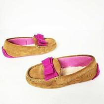 Ugg Sheepskin Lined Bow Suede Moccasins Slippers Women's Size 5/5.5 Great Condit Photo