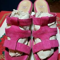 Ugg Shoes Tawnie Bright Pink Suede Espadrille Wedge Platform Sandals Size 9.5 Photo