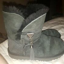 Ugg Short Ankle Fur Black Boots Girls Sz 3 S/n 1092110k K Lillian Ii Photo