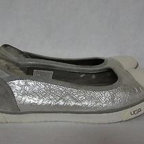 Ugg Silver Metallic Marbled Logo Shearling Lined Slip-on Sneakers Sz 8.5 Photo