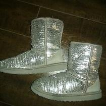 Ugg Silver Sparkle Shiny Boots Girls Size 4 Free Shipping Photo