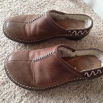Ugg Size 5 Brown Leather Clogs Slippers Women's Shoes Euc Photo