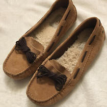 Ugg Slippers Brett Shearling Women's Solid Beige With Brown  Size 7 Moccasin Photo