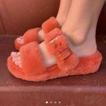 Ugg Slippers Coral Mariposa Fuzzy Slides/slippers Sizes 678 and 9 Photo