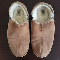 Ugg Slippers Size 12 Scuff Romeo 45.5 Eu Chestnut Brown Tan Suede Shearling Men Photo