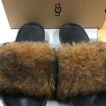 Ugg Slippers Slides 9 Royale Black Brown Fur Euc Photo
