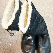 Ugg Snowpeak Black Leather Quilted Shearling Mid-Calf Zip Winter Boots Sz 5 Photo