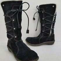 Ugg Surfcat Women's Black Suede & Shearling Lace-Up Boots S/n 5158 Us Size 8 Photo