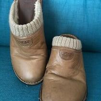 Ugg Sz 8 Tan Brown Leather Gael Slip on Clog Mule Shearling Lining 1937 Photo