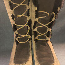 Ugg Tall Boots Moccasins Girls Size 3 Brown Suede Fur Photo