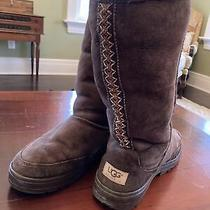 Ugg Tall Brown Suede Boot Womens Shearling Lined Size 8 Photo