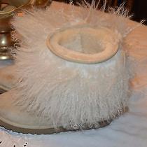 Ugg Tan White Mongolian Lamb Fur Edge Boots Shoes 7 Photo