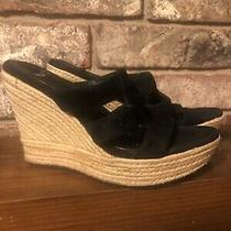 Ugg Tawnie Platform Wedge Espadrille Sandal Heels Suede Black Womens Size 8 Photo