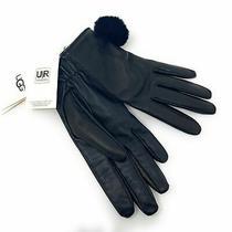 Ugg Touchscreen Leather Pom Glove Sz M Nwt Photo