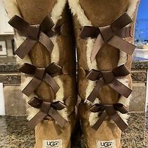 Ugg Triple Bailey Bow Ii Chestnut Brown Suede Tall Boot Size 8 Women Photo