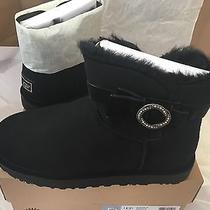 Ugg W Karlie Brooch Swarovski Bling Suede Boots Blk 1016335 Mini Boots Sz11 New Photo