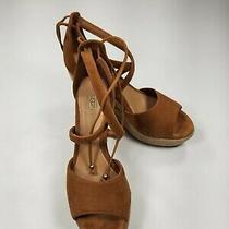 Ugg Wedge Womens Reagan Espadrille Sandal Sz 8 Tie Up Chestnut Suede  Photo