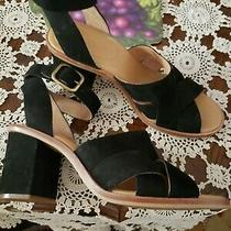 Ugg Women Black Ankle Strap Heels Wedge  Size 8  Photo