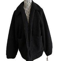 Ugg Women Jackeline Teddy Bear Black Faux Fur Jacket Coat Size S Photo