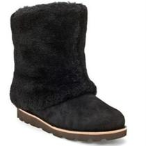 Ugg Women's Australia Maylin Fur Suede Sheepskin Lined Boots Size 8 270 Black Photo