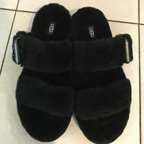 Ugg Women's Black Fuzz Yeah Shearling Slide Sandals Slippers 110662 Size 9 Fur Photo