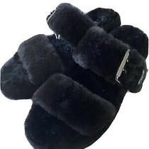 Ugg Women's Black  Size 8 Fuzz Yeah Shearling Slide Sandals Slippers Photo